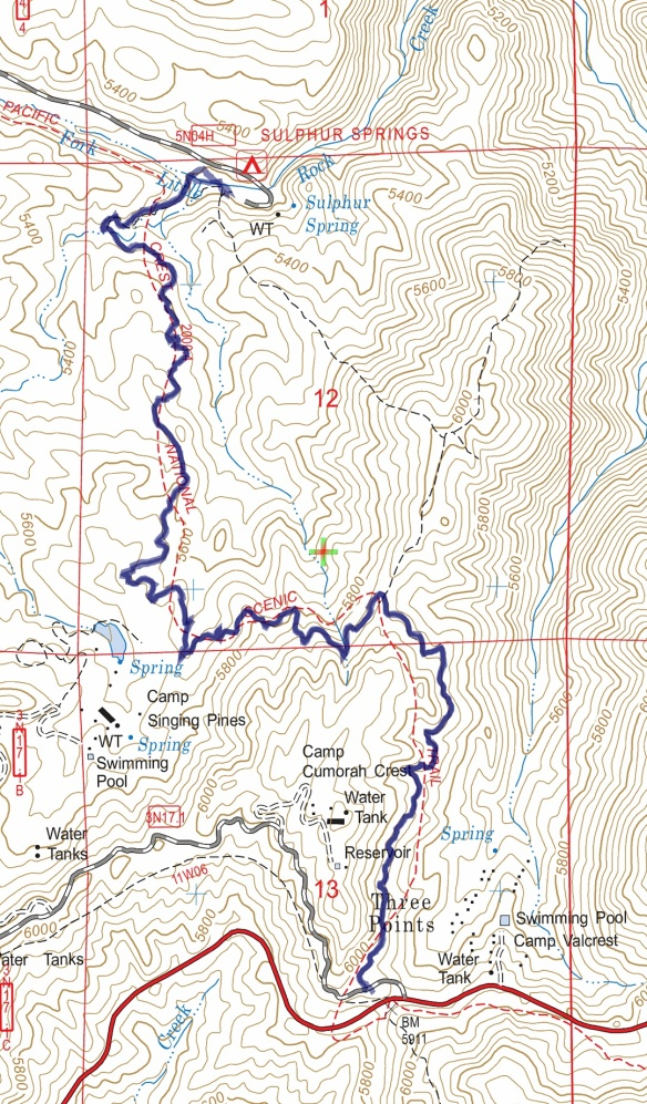 Hike #022 (Pacific Crest Trail) track map using Backcountry Navigator (US Forest Service-2013 map) from my phone.