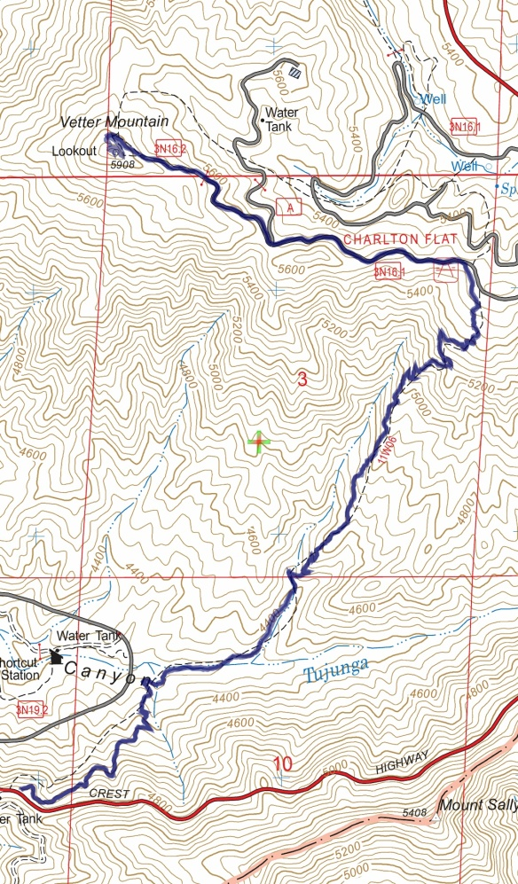 Hike #048 Shortcut Saddle to Vetter Mountain track map using Backcountry Navigator (US Forest Service-2013 map) from my phone