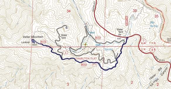 Hike #011 track map using Backcountry Navigator (US Forest Service-2013 map) from my phone.