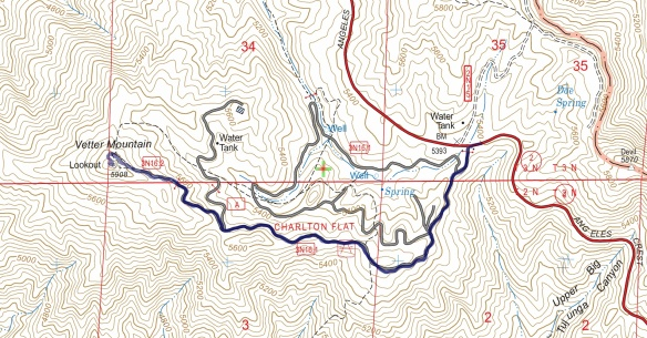 Hike #027 (Vetter Mountain #2) track map using Backcountry Navigator (US Forest Service-2013 map) from my phone.