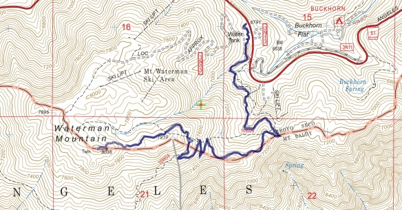 Hike #033 Mt. Waterman track map using Backcountry Navigator (US Forest Service-2013 map) from my phone.