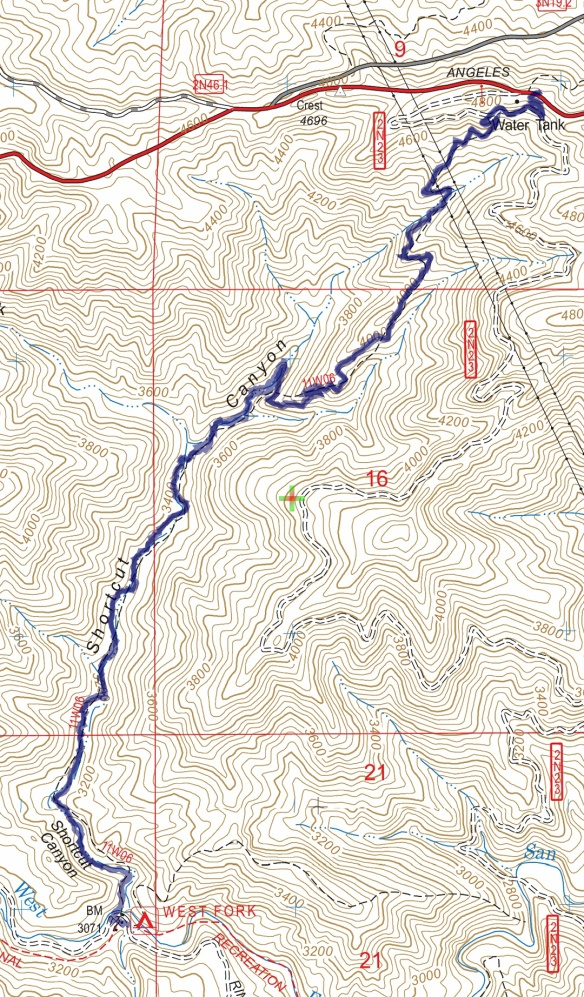 Hike #046 Shortcut Canyon track map using Backcountry Navigator (US Forest Service-2013 map) from my phone
