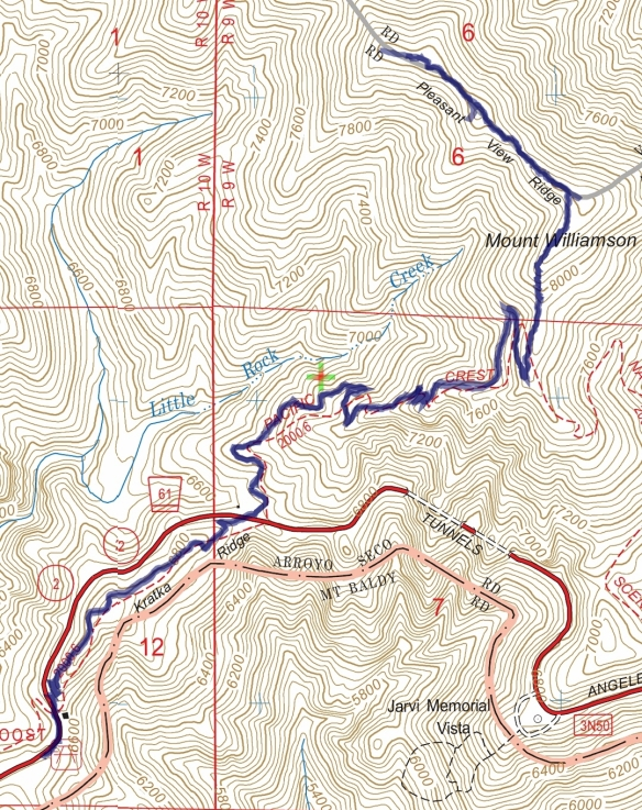 Hike #037 Mt. Williamson track map using Backcountry Navigator (US Forest Service-2013 map) from my phone.