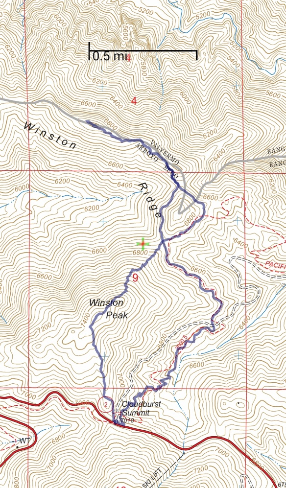 Hike #008 track map using Backcountry Navigator (US Forest Service-2013 map) from my phone.