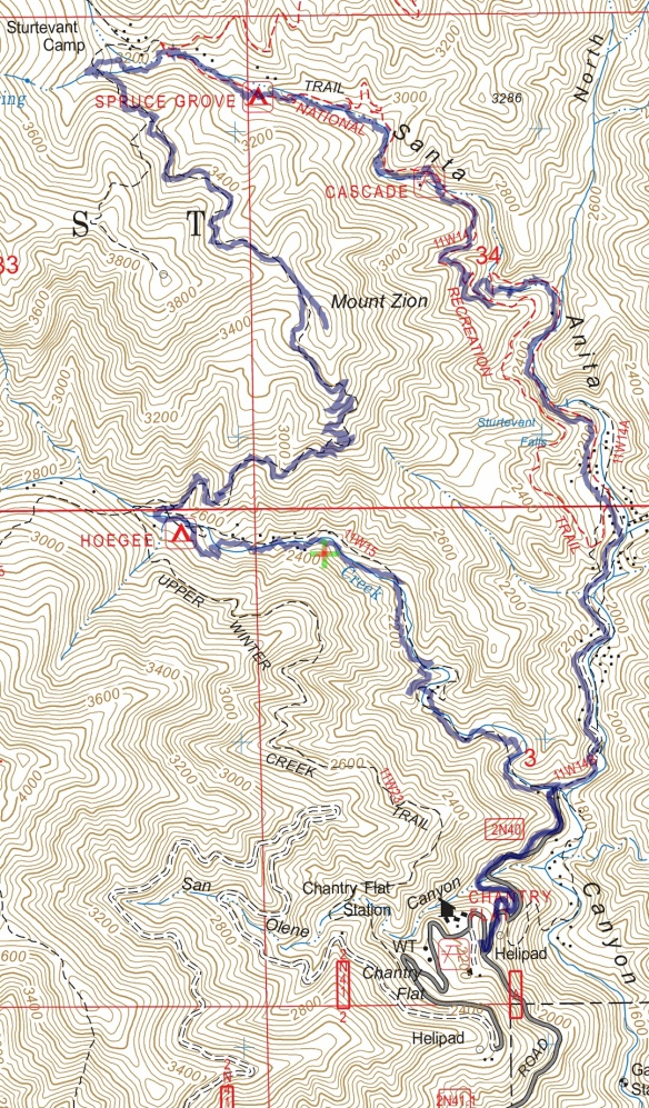 Hike #045 Mt. Zion track map using Backcountry Navigator (US Forest Service-2013 map) from my phone.