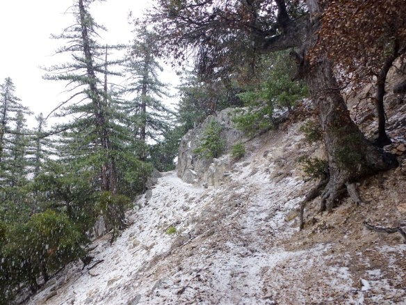 Precipitation turned from rain to hail and then snow as I left Devil's Canyon in February 2012.