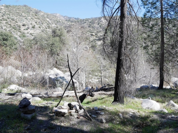 One of the two makeshift sites I came across with some remains of open fires (prohibited for good reason outside clearly designated areas of Angeles National Forest).