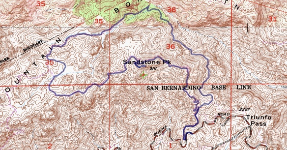 Track map for 2016 Hike #66 Sandstone Peak Backcountry Navigator (Cal Top map) from my phone.