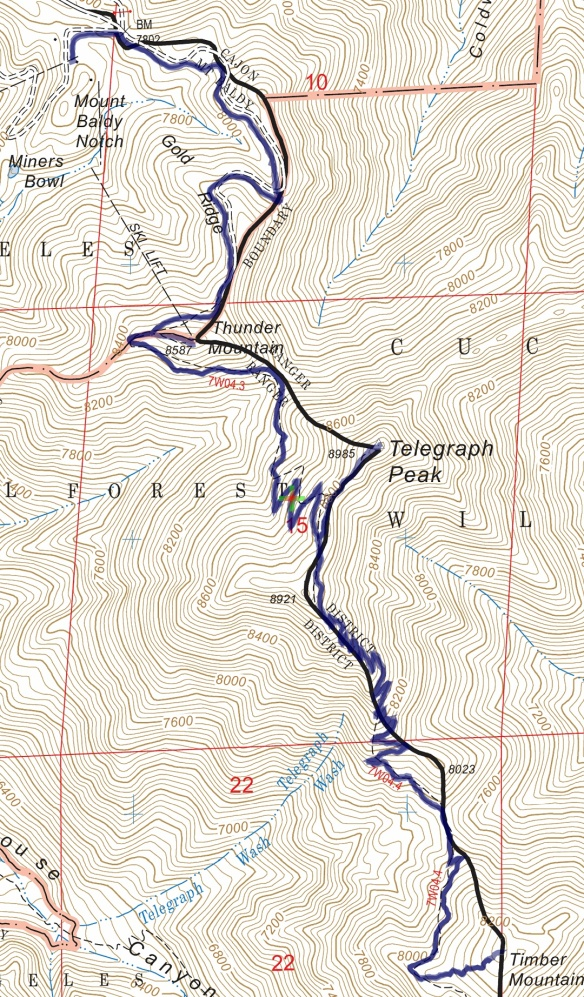 Track map for 2016 Hike #58 Three Tees from Baldy Notch-1601 using Backcountry Navigator (US Forest Service-2013 map) from my phone.