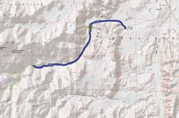 Track map in Bow Willow Canyon using Backcountry Navigator (Cal Topo US 24K Topo map) from my phone.