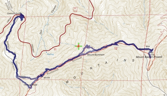 Track map for 2016 hike #36 Baden-1601 using Backcountry Navigator (US Forest Service-2013 map) from my phone.