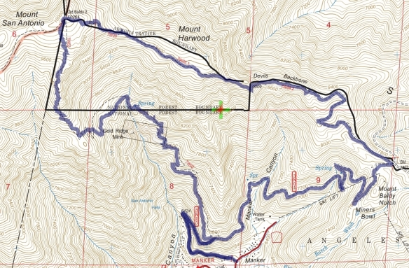 Track map for 2016 Hike #42 Baldy 1601 using Backcountry Navigator (US Forest Service-2013 map) from my phone.