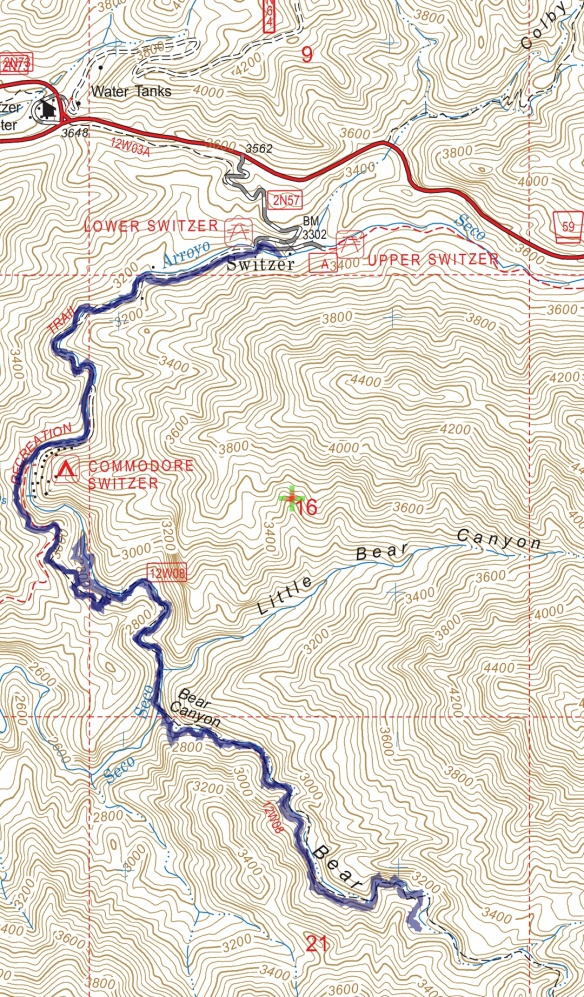 Track map for 2016 hike #13 Switzer to Bear Canyon CG using Backcountry Navigator (US Forest Service-2013 map) from my phone.