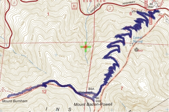 Track map for 2016 Hike #55 Vincent to Burnham-1601 using Backcountry Navigator (US Forest Service-2013 map) from my phone.