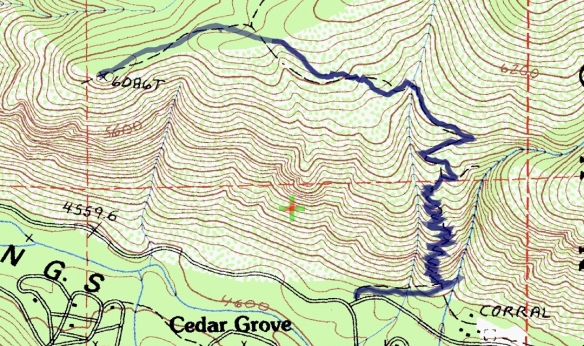 Track map for hike #39 (B) Cedar Lookout-1601 using Backcountry Navigator (Cal Topo US 24K Topo map) from my phone.
