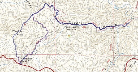 Track map for 2016 hike #16 Cooper Canyon and Winston Peak using Backcountry Navigator (US Forest Service-2013 map) from my phone.