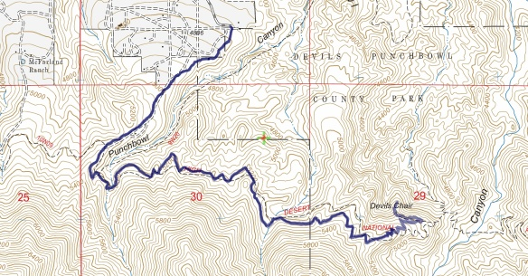 Track map for 2016 hike #20 Devil's Chair-1601 using Backcountry Navigator (US Forest Service-2013 map) from my phone.