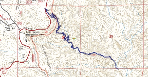 Track map for 2016 hike #9 Devil's Canyon using Backcountry Navigator (US Forest Service-2013 map) from my phone.