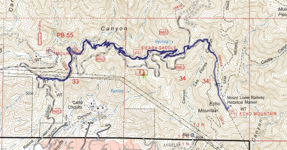 Track map for 2016 Hike #63 Upper Sunset Ridge to Echo Mountain Backcountry Navigator (US Forest Service-2013 map) from my phone.