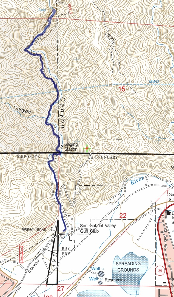 Track map for 2016 hike #17 Fish Canyon Falls using Backcountry Navigator (US Forest Service-2013 map) from my phone.