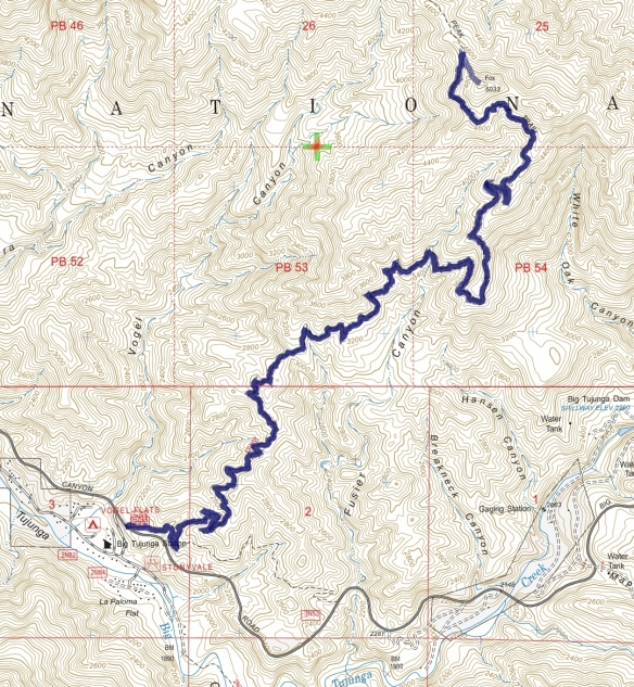 Track map for 2016 hike #26 Fox Peak-1601 using Backcountry Navigator (US Forest Service-2013 map) from my phone.