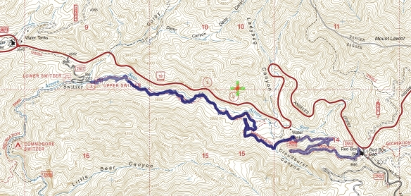 Track map for 2016 Hike #64 Red Box to the Upper Switzer Picnic Area. Backcountry Navigator (US Forest Service-2013 map) from my phone.