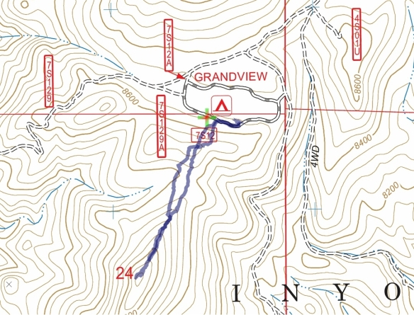 Track map for 2016 Hike #44 (B) Grandview Campground 1601 using Backcountry Navigator (US Forest Service-2013 map) from my phone.