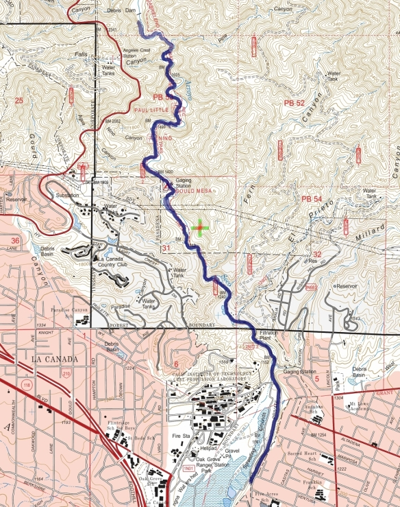 Track map for 2016 hike #22 Gabrieleno Trail-dam-1601 using Backcountry Navigator (US Forest Service-2013 map) from my phone.