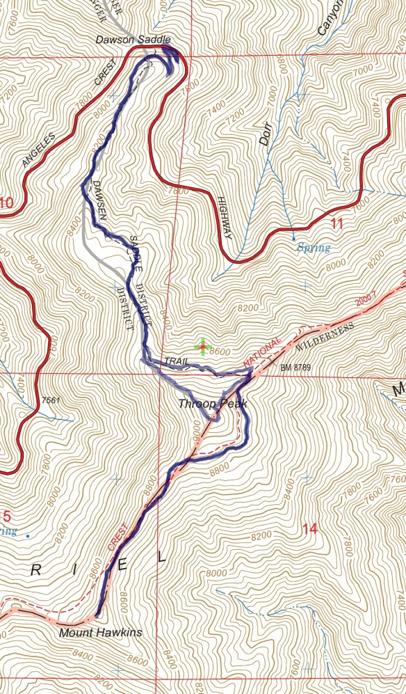 Track map for 2016 hike #35 Hawkins-1601 using Backcountry Navigator (US Forest Service-2013 map) from my phone.