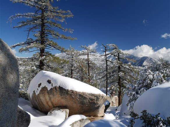 The prevalence of partial snow covered large boulders, snowy trees, and constantly changing great views make the Mt. Hillyer Trail continuously inspiring all the way to the summit.