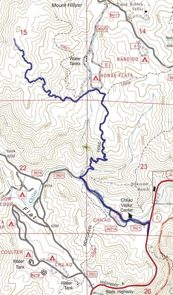 Track map from Angeles Crest Highway to Mt. Hillyer using Backcountry Navigator (US Forest Service-2013 map) from my phone.