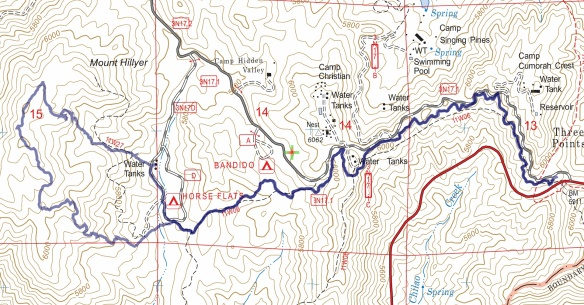 Track map for 2016 hike #14 Mt. Hillyer using Backcountry Navigator (US Forest Service-2013 map) from my phone.