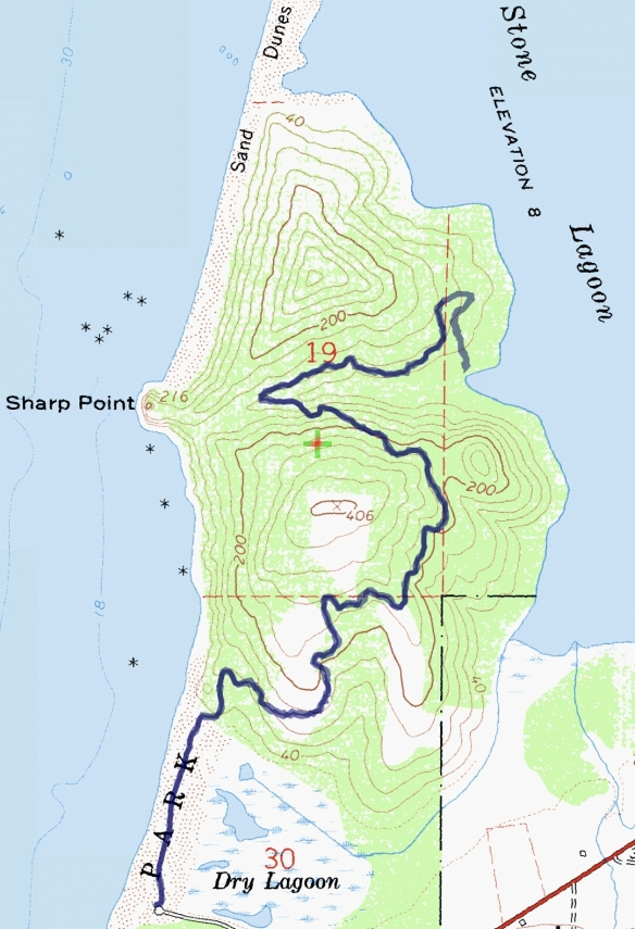 Track map for hike #33 Dry Lagoon-1601 using Backcountry Navigator (Cal Topo US 24K Topo map) from my phone.