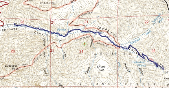Track map for 2016 hike #8 Icehouse Canyon using Backcountry Navigator (US Forest Service-2013 map) from my phone.