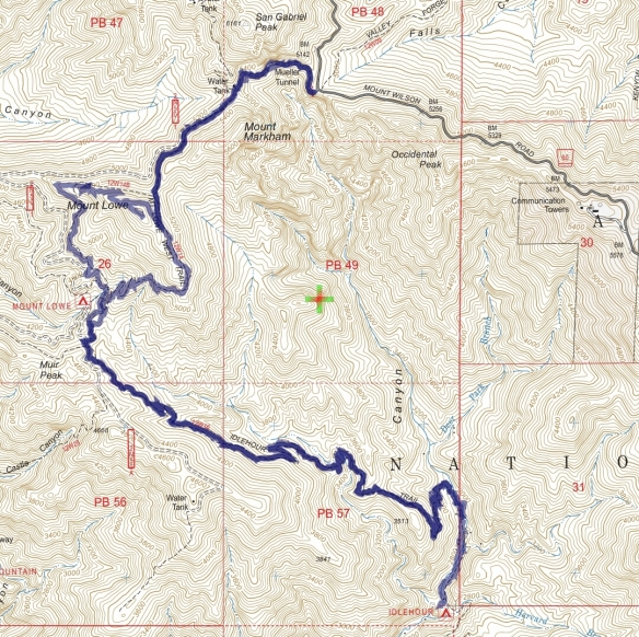 Track map for 2016 hike #15 Idlehour using Backcountry Navigator (US Forest Service-2013 map) from my phone.