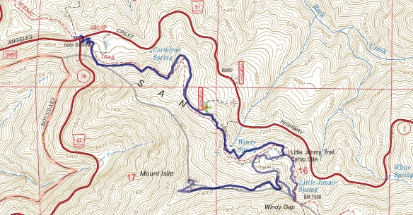 Track map for 2016 Hike #44 Mt.Islip 1601 using Backcountry Navigator (US Forest Service-2013 map) from my phone.