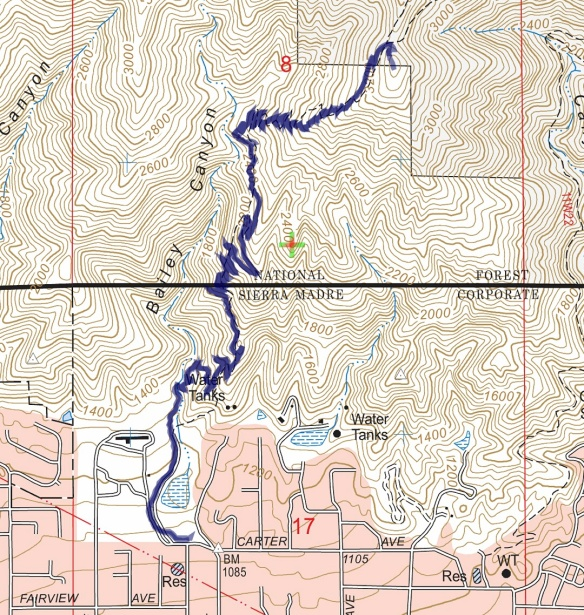 Track map for 2016 Hike #70, Bailey Canyon to Jones Peak. Backcountry Navigator (US Forest Service-2013 map) from my phone.