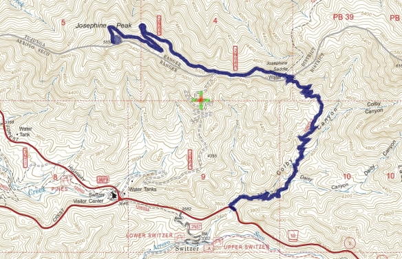 Track map for 2016 hike #25 Josephine Peak-1601 using Backcountry Navigator (US Forest Service-2013 map) from my phone.
