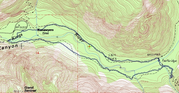 Track map for hike #39 (A) Kanawyer-1601 using Backcountry Navigator (Cal Topo US 24K Topo map) from my phone.