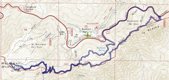 Track map for 2016 Hike #54 Kratka Ridge and Mt. Waterman-1601 using Backcountry Navigator (US Forest Service-2013 map) from my phone.