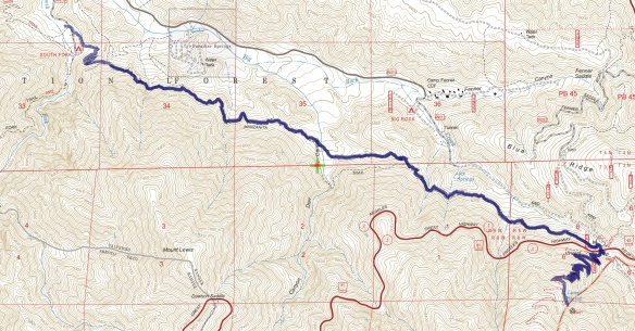 Track map for 2016 hike #21 Manzanita Trail-1601 using Backcountry Navigator (US Forest Service-2013 map) from my phone.