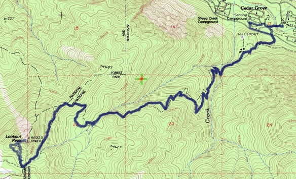 Track map for hike #40 (A) Lookout Peak-1601 using Backcountry Navigator (Cal Topo US 24K Topo map) from my phone.