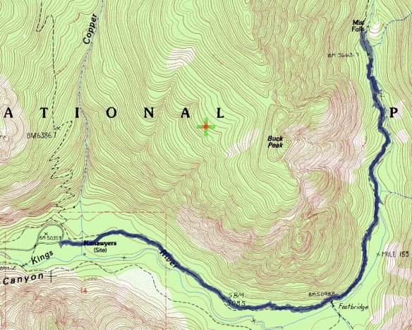 Track map for hike #41 Mist Falls-1601 using Backcountry Navigator (Cal Topo US 24K Topo map) from my phone.
