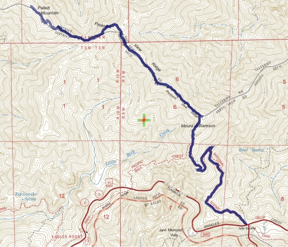Track map for 2016 Hike #48 Pallett-1601 using Backcountry Navigator (US Forest Service-2013 map) from my phone.
