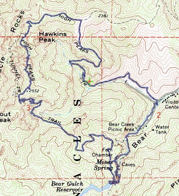 Track map for hike #32 Pinnacles-1601 using Backcountry Navigator (Cal Topo US 24K Topo map) from my phone.