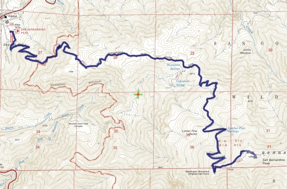 Track map for 2016 Hike #50 San Bernardino Peak-1601 using Backcountry Navigator (US Forest Service-2013 map) from my phone.
