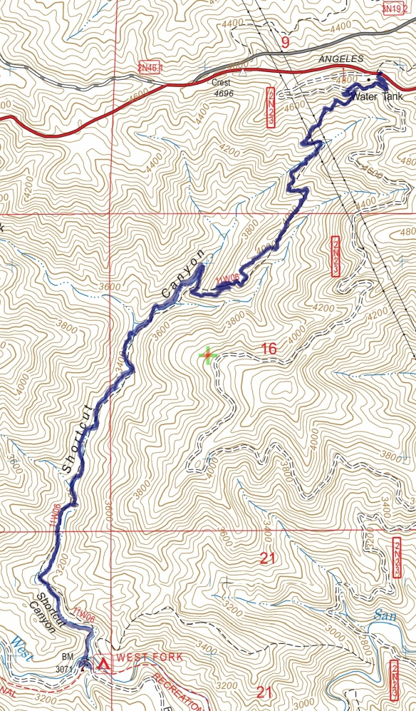 Track map for 2016 Hike #61 Shortcut Saddle to West Fork Campground-1601 using Backcountry Navigator (US Forest Service-2013 map) from my phone.