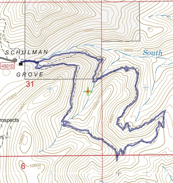 Track map for 2016 Hike #44 (A) Methuselah Walk 1601 using Backcountry Navigator (US Forest Service-2013 map) from my phone.