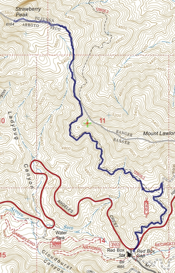 Track map for 2016 Hike #65 Red Box to Strawberry Peak Backcountry Navigator (US Forest Service-2013 map) from my phone.