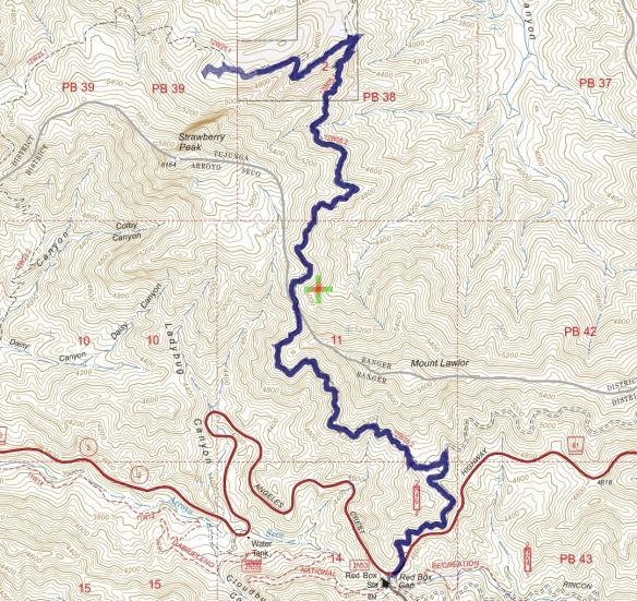 Track map for 2016 hike #28 Strawberry Meadow-1601 using Backcountry Navigator (US Forest Service-2013 map) from my phone.